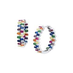 Rainbow Small Hoop Silver Earrings