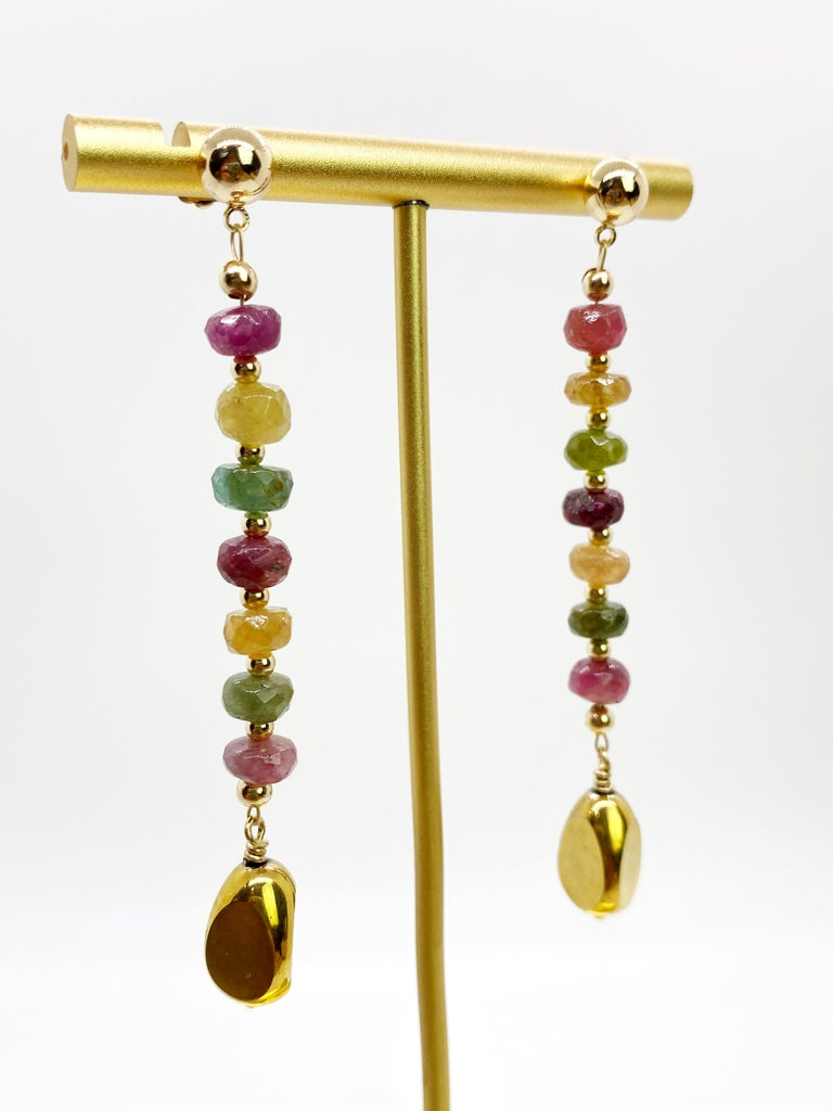 Round Cut Rainbow Tourmaline with German Gold Nugget Earrings For Sale