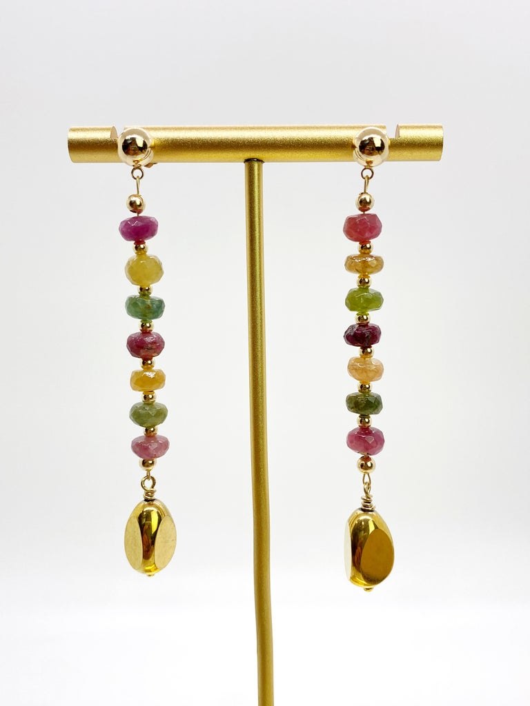 Rainbow Tourmaline with German Gold Nugget Earrings In New Condition For Sale In Monrovia, CA