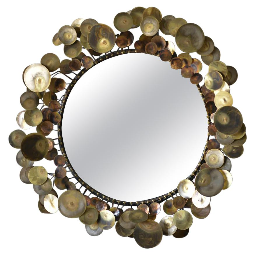 Raindrops Mirror in Brass by C. Jere, 1968