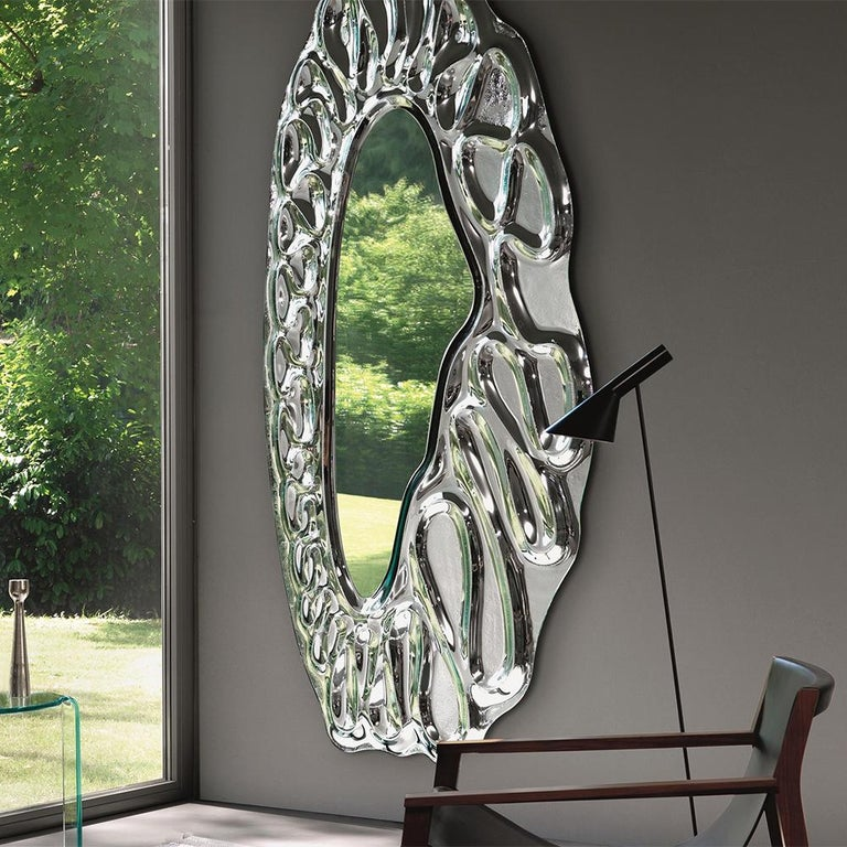 Italian Raindrops Mirror in Silver Finish For Sale