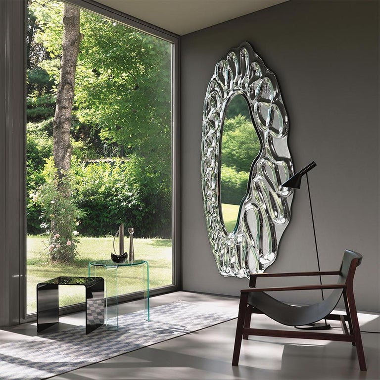 Hand-Crafted Raindrops Mirror in Silver Finish For Sale