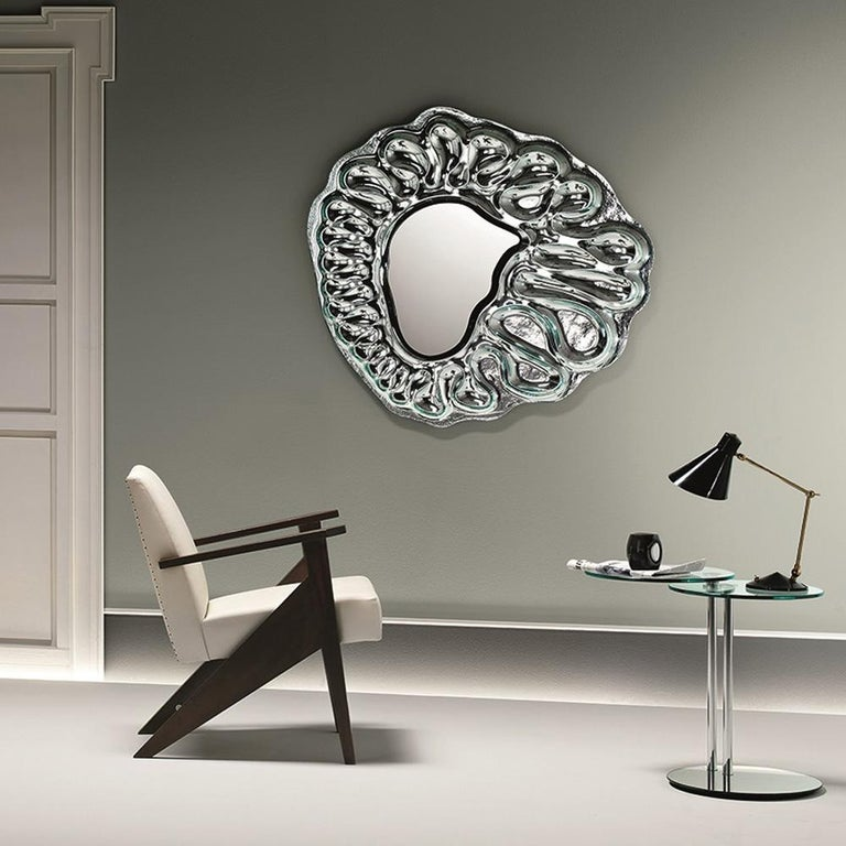 Contemporary Raindrops Mirror in Silver Finish For Sale