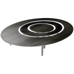 Raindrops Oval Set of Coffee Tables, Stainless Steel Top and Acrylic Legs