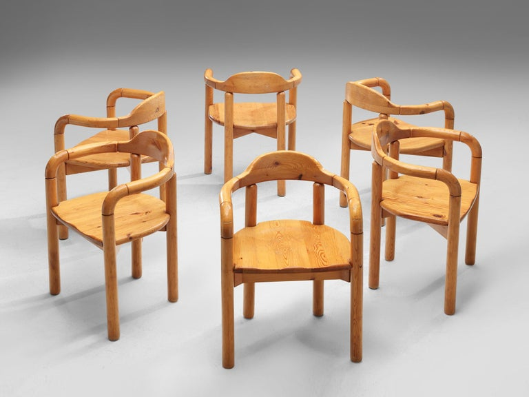 Rainer Daumiller for Hirtshals Savvaerk, set of six armchairs, pine, Denmark, 1970s.  Beautiful set of six organic and natural armchairs in solid pine. A simplistic design with a round seating and full attention for the natural expression and grain