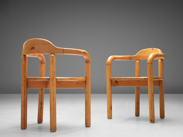 20th Century Rainer Daumiller Armchairs in Pine For Sale