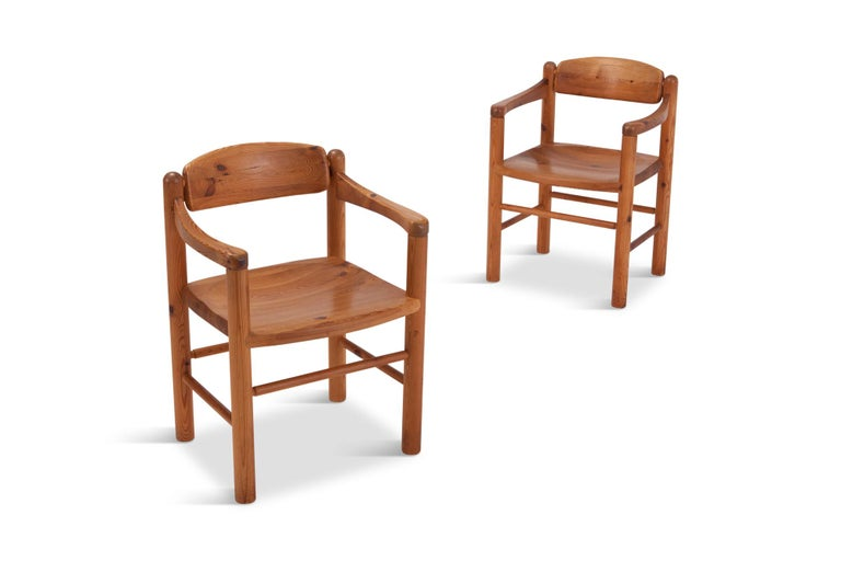 Mid-century modern Solid Pine dining chairs by Rainer Duamiller Set of six, Denmark 1970s The solid construction of these chair gives them a very strong expression, and have a strong resemblance with the design of Charlotte Perriand and Pierre