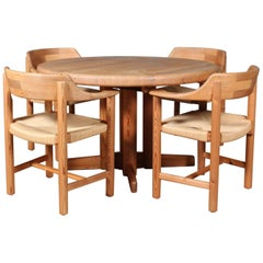 Rainer Daumiller Dining Set in Pinewood with Papercord Seats