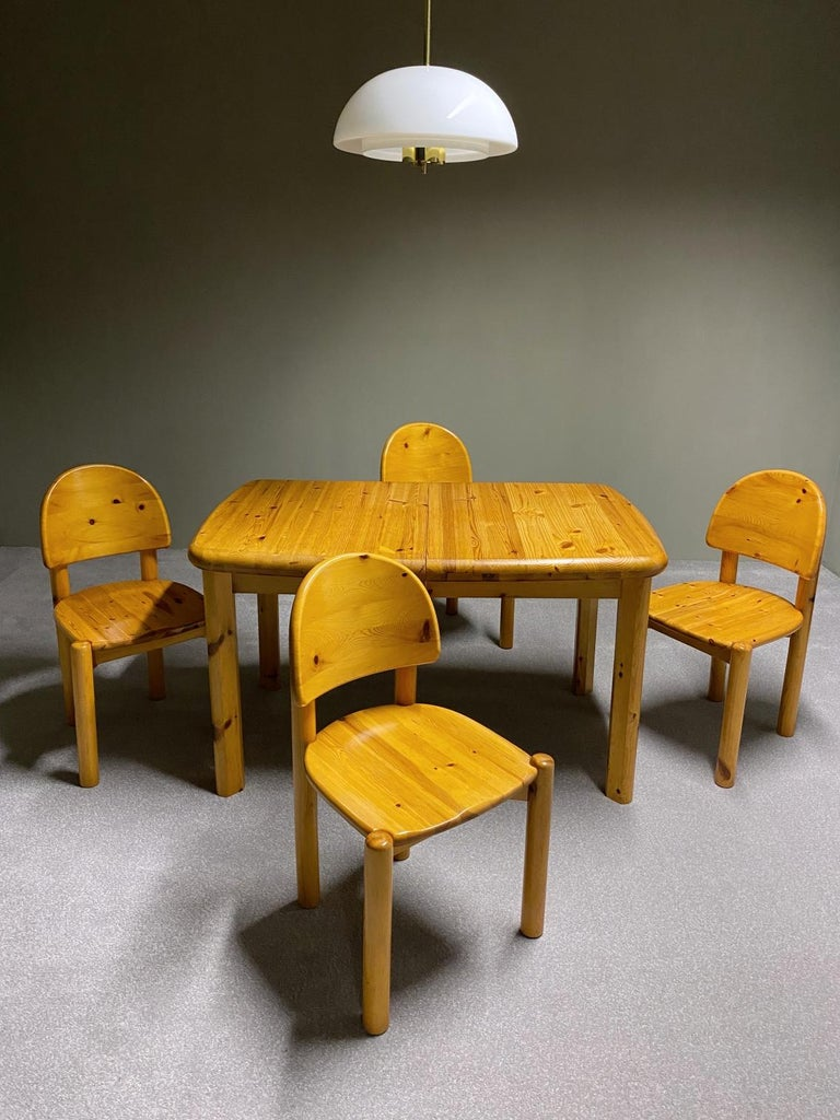 Outstanding combination of Scandinavian craftsmanship & design. Dining set designed by Rainer Daumiller and manufactured by Hirtshals Savvaerk Møbler. The set is made of solid pine wood. Very comfortable seating thanks to the ergonomically design.