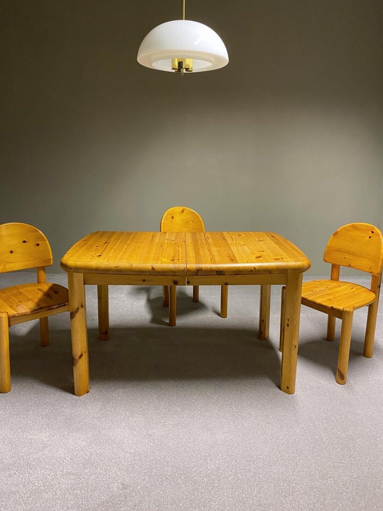 Hand-Crafted Rainer Daumiller for Hirtshals Savvaerk Dining Set, Solid Pine, 1970s, Denmark For Sale