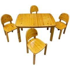 Rainer Daumiller for Hirtshals Savvaerk Dining Set, Solid Pine, 1970s, Denmark
