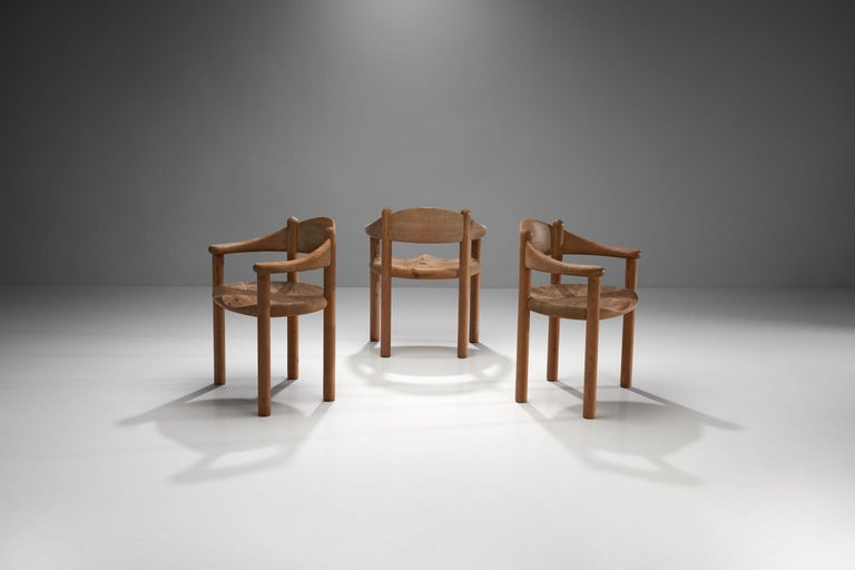 Set of three Rainer Daumiller chairs made of solid pine, manufactured by Hirtshals Savværk (Hirtshals Sawmill) Møbler in Denmark in the 1970s.   The set is made according to Scandinavian quality and design. The pine is crafted to be as