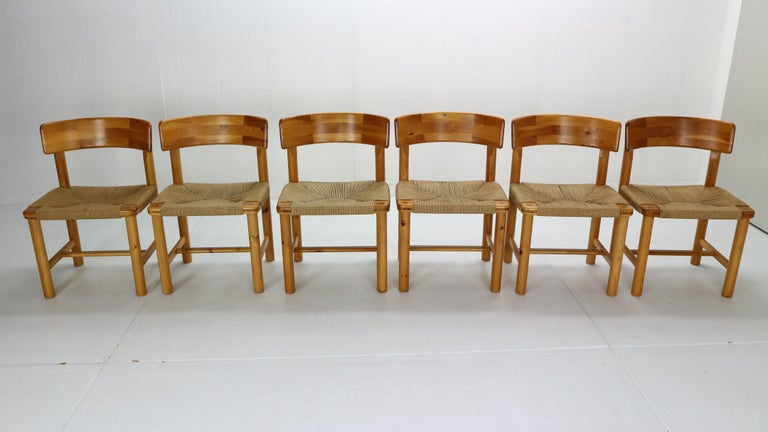 Mid-Century Modern Rainer Daumiller for Hirtshals Sawmill Set of 6 Dining Room Chairs, Denmark 1970 For Sale