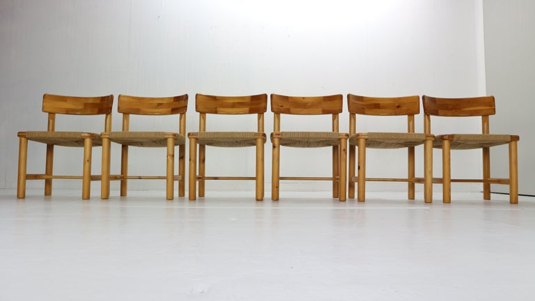 Danish Rainer Daumiller for Hirtshals Sawmill Set of 6 Dining Room Chairs, Denmark 1970 For Sale