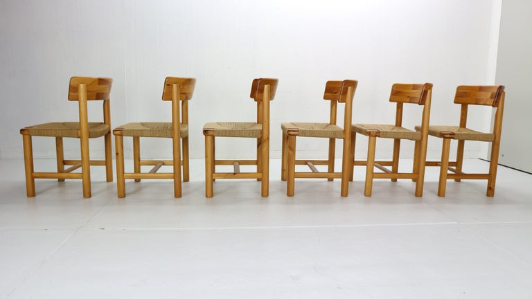 Woodwork Rainer Daumiller for Hirtshals Sawmill Set of 6 Dining Room Chairs, Denmark 1970 For Sale