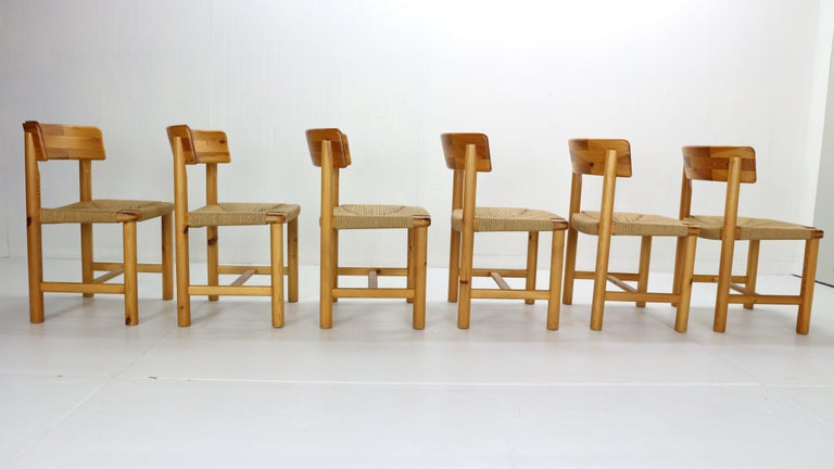 Late 20th Century Rainer Daumiller for Hirtshals Sawmill Set of 6 Dining Room Chairs, Denmark 1970 For Sale