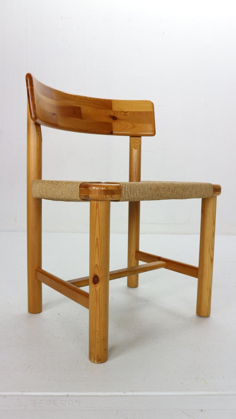 Papercord Rainer Daumiller for Hirtshals Sawmill Set of 6 Dining Room Chairs, Denmark 1970 For Sale