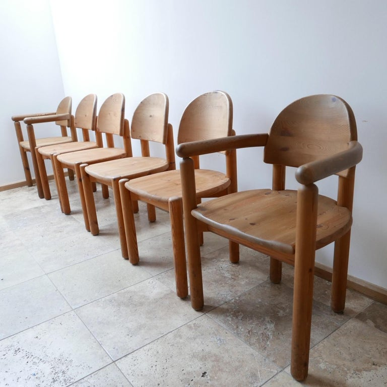 Rainer Daumiller dining chairs, produced by the Swedish firm Hirtshals.  Swedish, 1970s pine, incredible build quality, solid and sturdy.  Great condition with beautiful wood grain throughout.  This set includes two carvers. But these can be