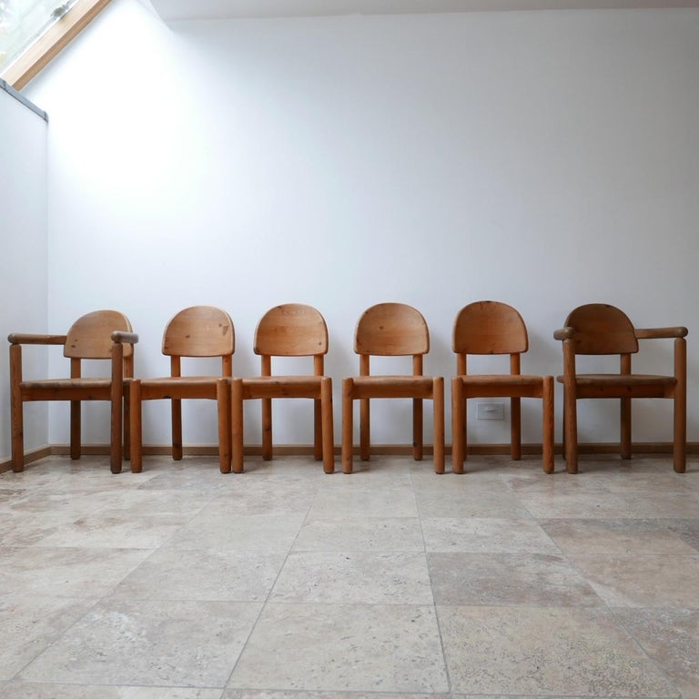 Swedish Rainer Daumiller Midcentury Pine Dining Chairs '6' For Sale