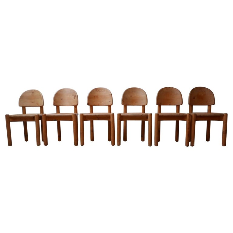 Rainer Daumiller Midcentury Pine Dining Chairs '6' For Sale