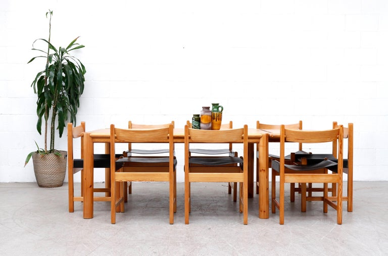 Danish Rainer Daumiller Pine Dining Table with Single Leaf For Sale