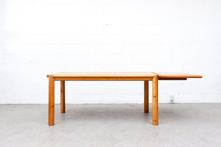 Rainer Daumiller Pine Dining Table with Single Leaf In Good Condition For Sale In Los Angeles, CA