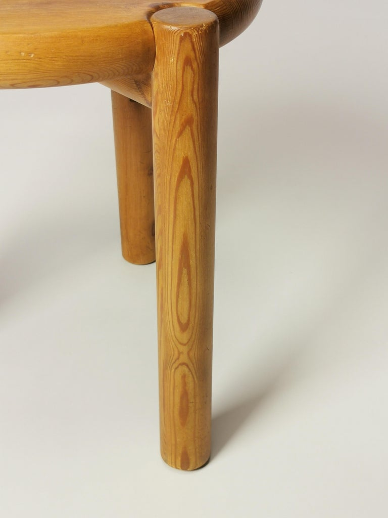 Stained Rainer Daumiller, Pine Stool, Denmark, 1960s For Sale