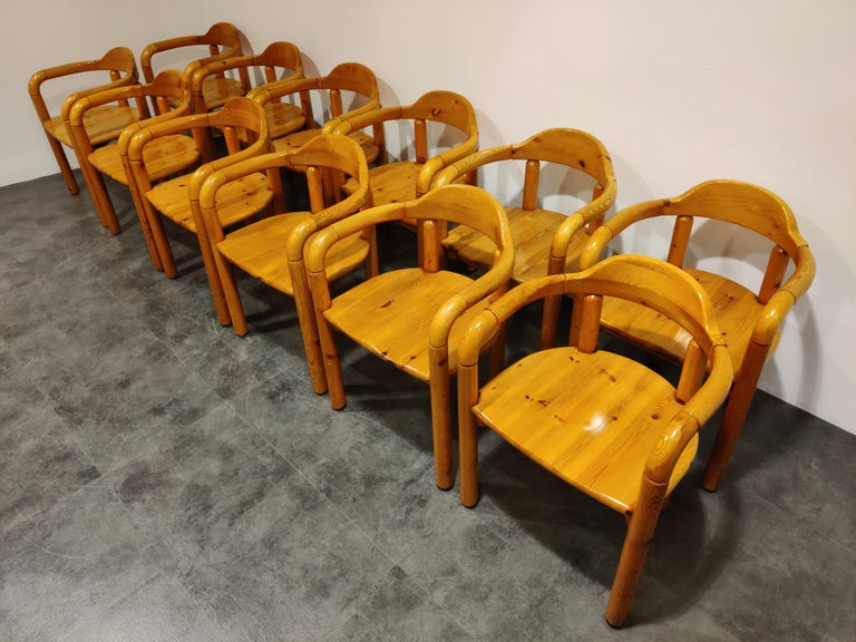Scandinavian Modern Rainer Daumiller Pine Wood Dining Chairs for Hirtshals Savvaerk Set of 12, 1980s For Sale