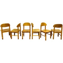 Rainer Daumiller Pine Wood Dining Chairs for Hirtshals Savvaerk, Set of 6, 1980