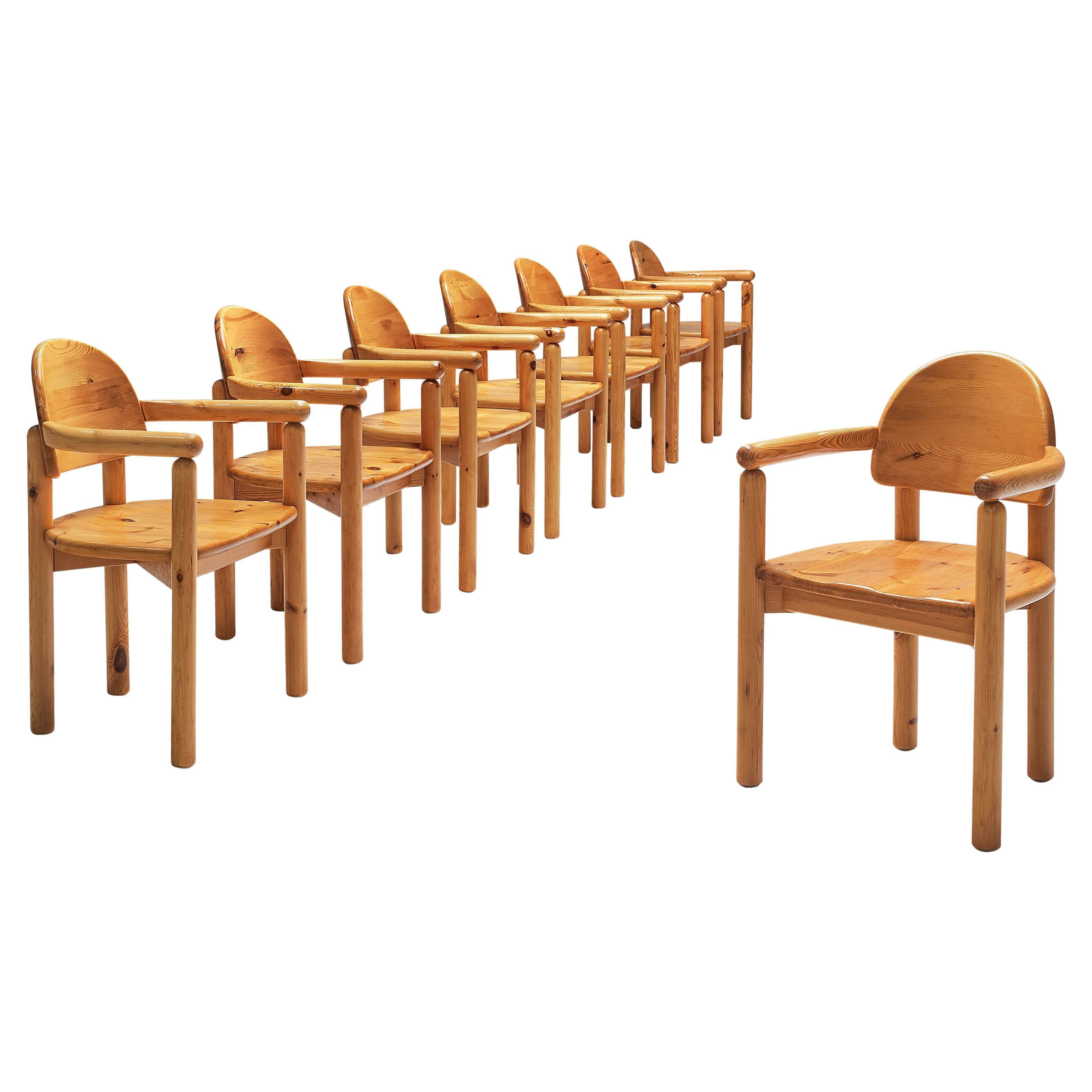Rainer Daumiller Set of Eight Dining Chairs in Solid Pine