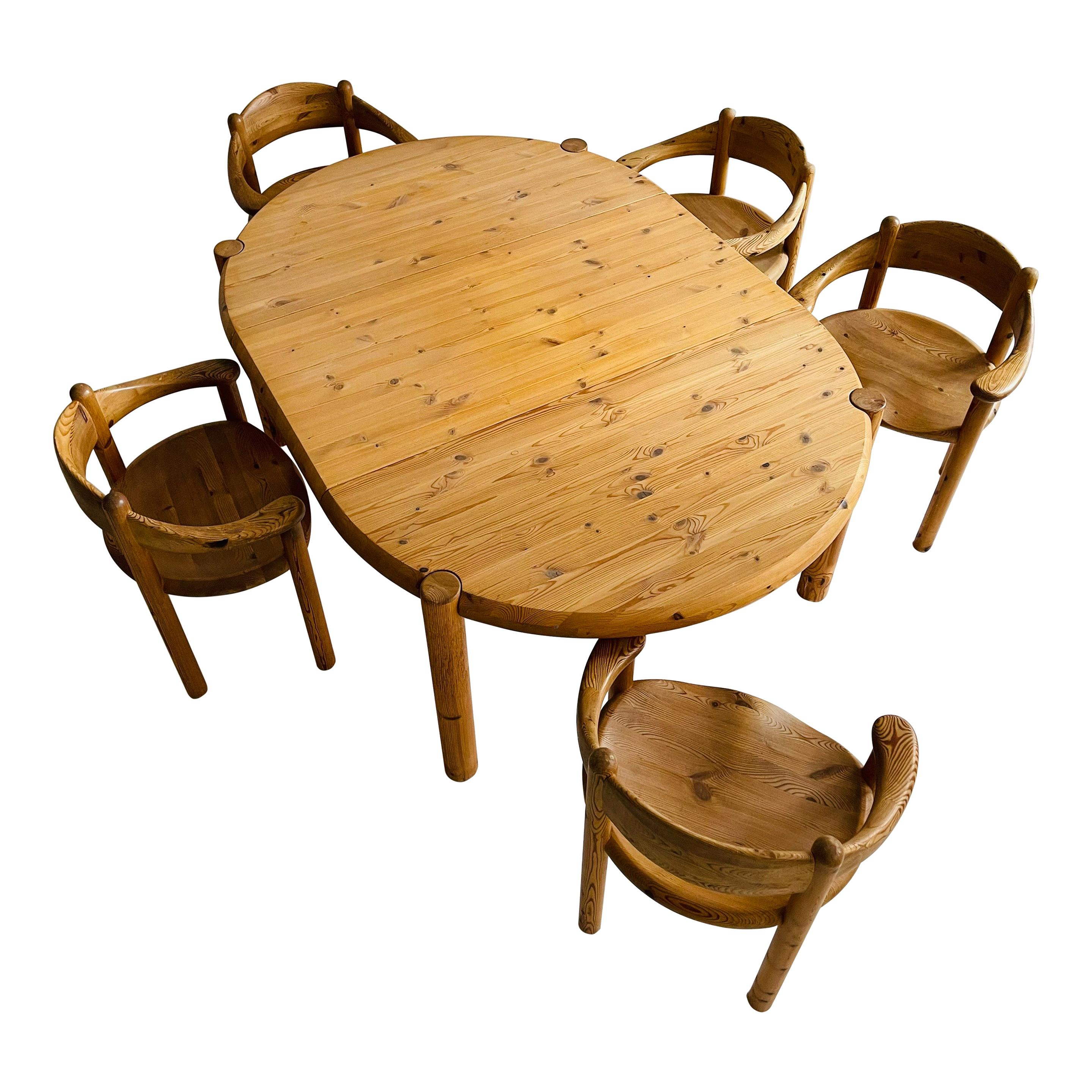 Rainer Daumiller Set of Five Pine Carver Chairs and Dining Table, Denmark, 1970s