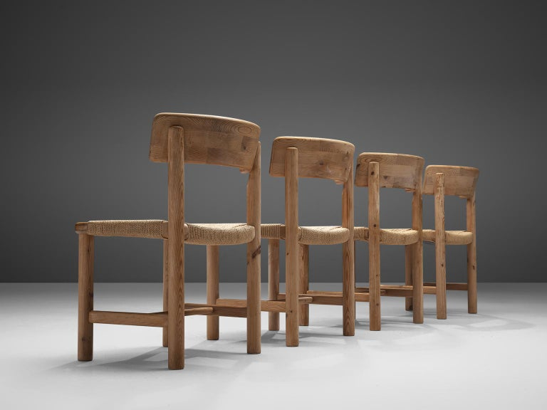 Mid-Century Modern Rainer Daumiller Set of Four Dining Chairs in Solid Pine and Cane For Sale