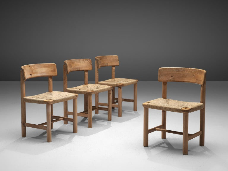 Danish Rainer Daumiller Set of Four Dining Chairs in Solid Pine and Cane For Sale