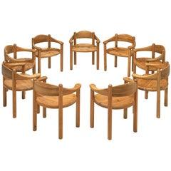 Rainer Daumiller Set of Nine Armchairs in Pine