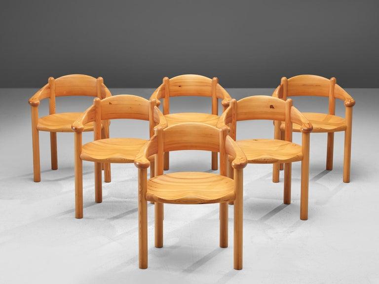 Scandinavian Modern Rainer Daumiller Set of Six Armchairs in Pine