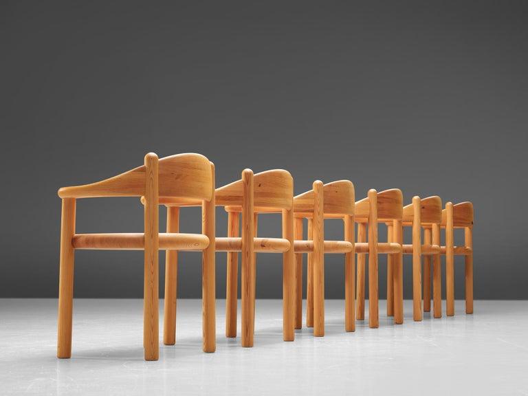 Danish Rainer Daumiller Set of Six Armchairs in Pine