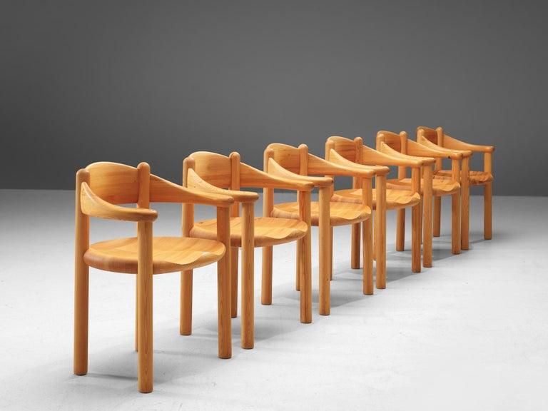 Rainer Daumiller Set of Six Armchairs in Pine In Good Condition In Waalwijk, NL