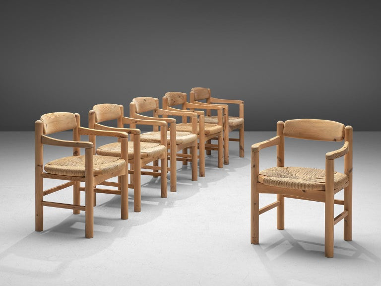 Rainer Daumiller for Hirtshals Savvaerk A/S, set of six armchairs, solid pine and cane, Denmark, 1970s.  Set of six armchairs in solid pine. This chair is very well made, with basic construction and solid legs, arms and back which gives the chair