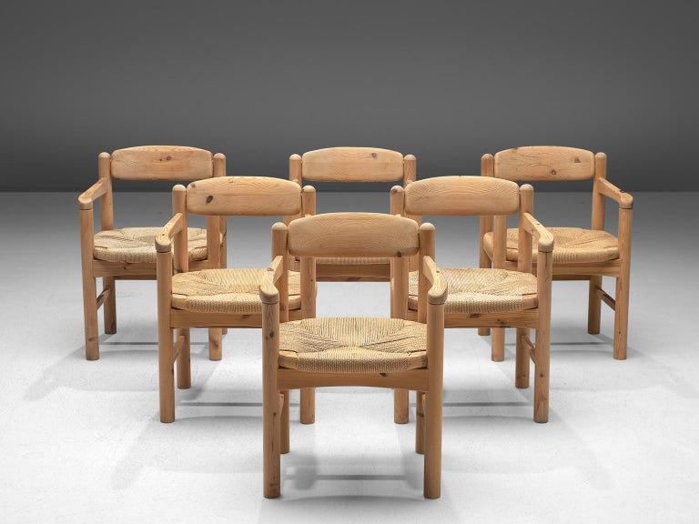Mid-Century Modern Rainer Daumiller Set of Six Armchairs in Solid Pine and Cane For Sale