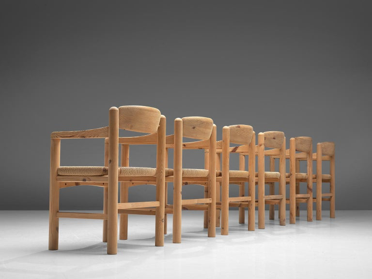 Danish Rainer Daumiller Set of Six Armchairs in Solid Pine and Cane For Sale