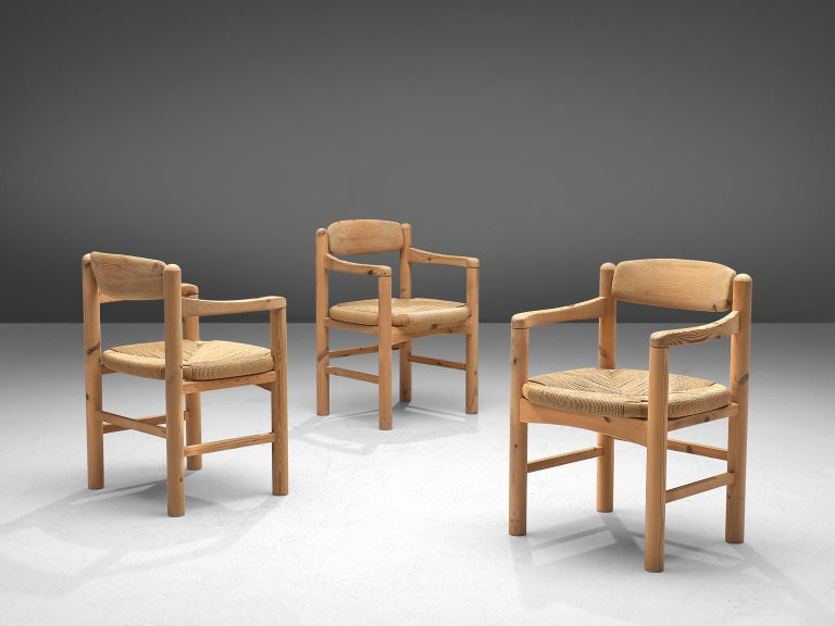Rainer Daumiller Set of Six Armchairs in Solid Pine and Cane In Good Condition For Sale In Waalwijk, NL