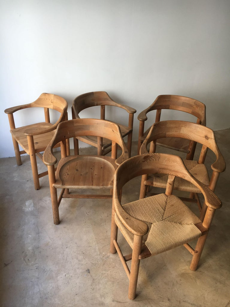 Rainer Daumiller Set of Six Pine and Cord Chairs, Denmark, 1970s For Sale 4