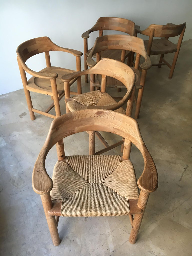 Rainer Daumiller Set of Six Pine and Cord Chairs, Denmark, 1970s For Sale 5
