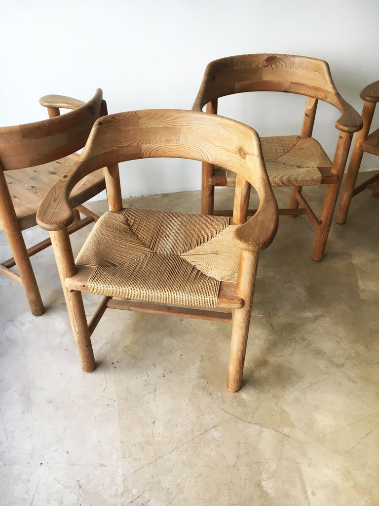 Rainer Daumiller Set of Six Pine and Cord Chairs, Denmark, 1970s For Sale 6