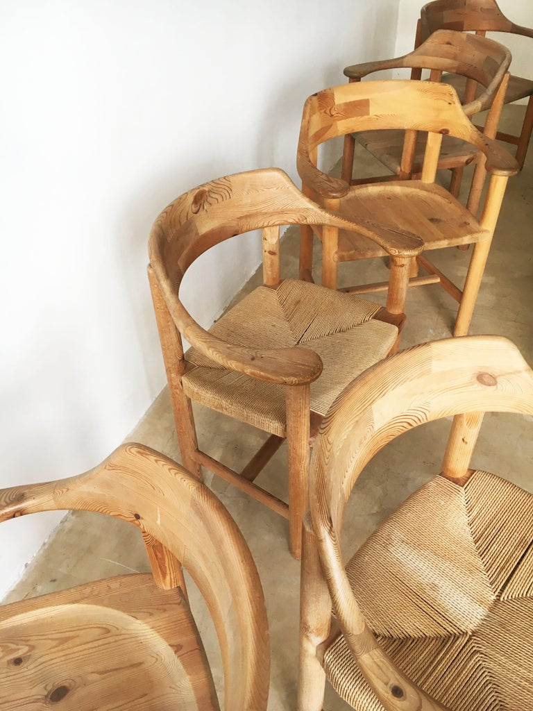Rainer Daumiller Set of Six Pine and Cord Chairs, Denmark, 1970s For Sale 7