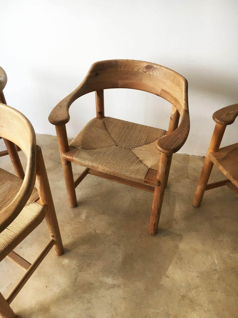 Rainer Daumiller Set of Six Pine and Cord Chairs, Denmark, 1970s For Sale 8