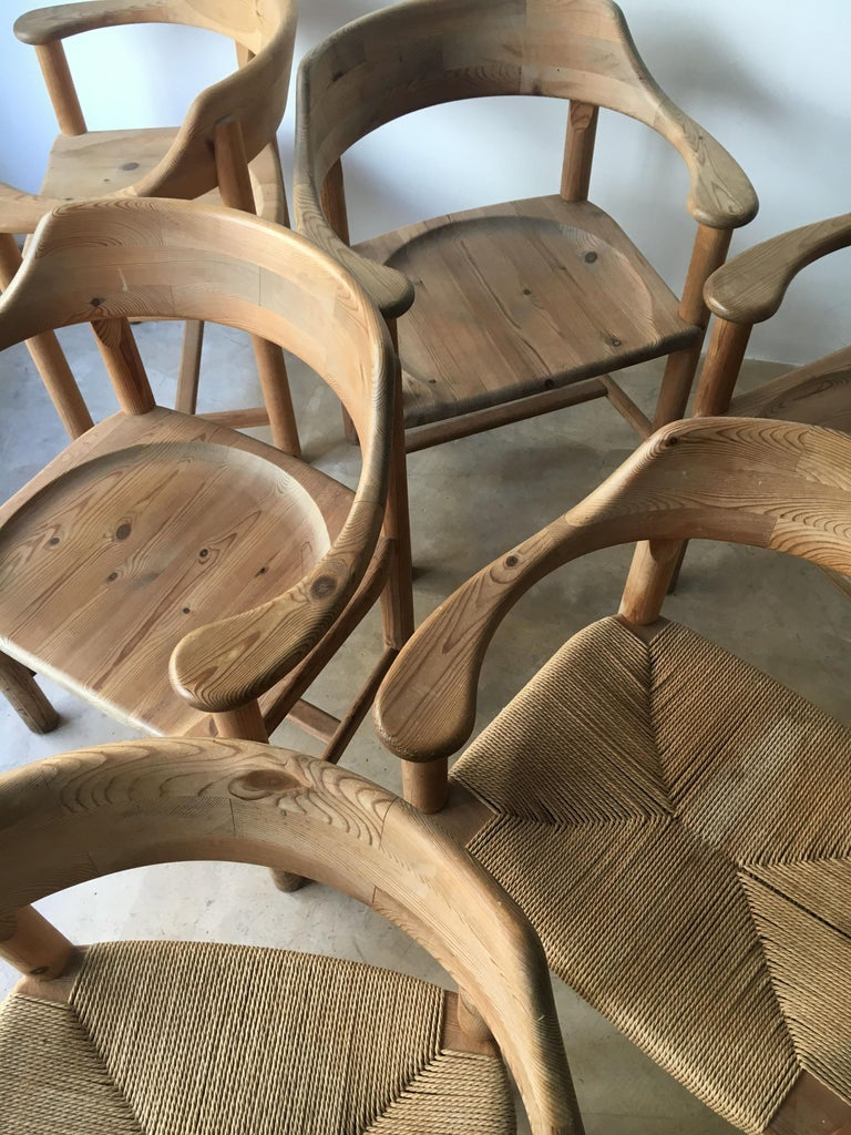 Rainer Daumiller Set of Six Pine and Cord Chairs, Denmark, 1970s For Sale 10