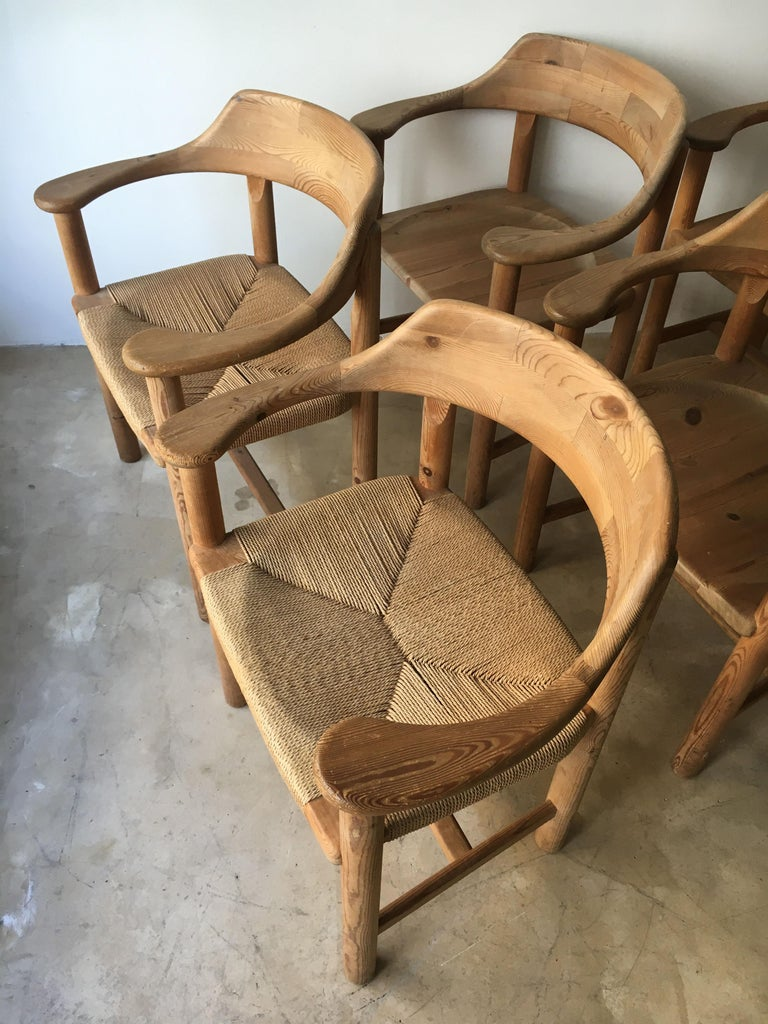 Rainer Daumiller Set of Six Pine and Cord Chairs, Denmark, 1970s For Sale 11