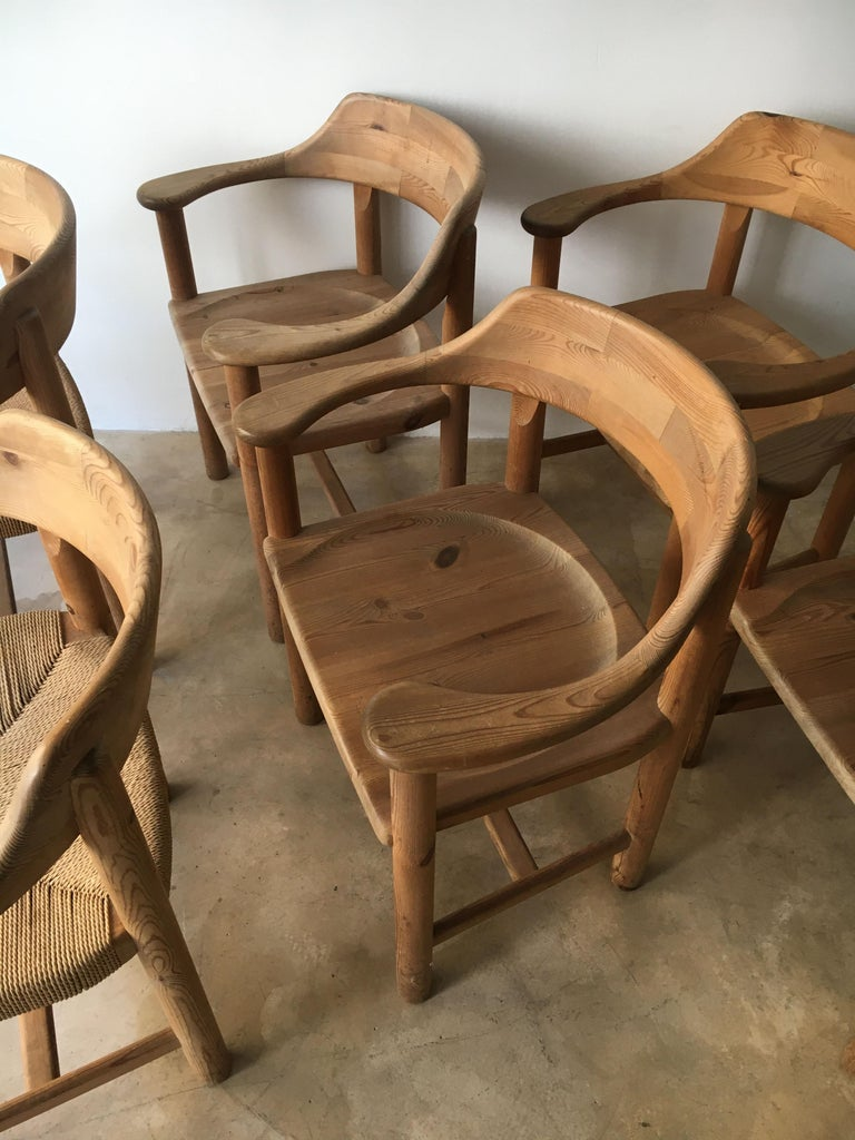 Rainer Daumiller Set of Six Pine and Cord Chairs, Denmark, 1970s For Sale 12