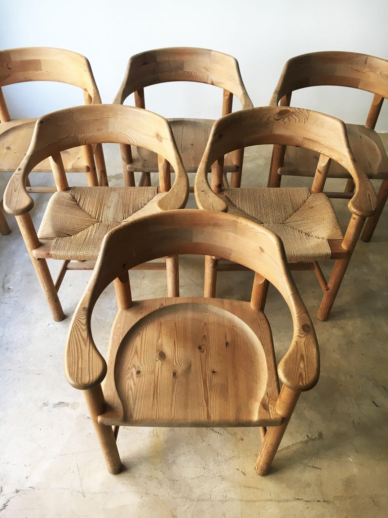 Rainer Daumiller set of six pine and cord chairs, Denmark, 1970s. The set contains two chairs with woven cord and four chairs with sculpted pine seat. This set is part of the rare first edition from the original design by Rainer Daumiller. In the